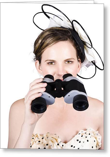 Beautiful Young Woman With Binoculars Greeting Card