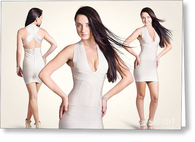 Beautiful Young Women Standing In Trendy Fashion Greeting Card