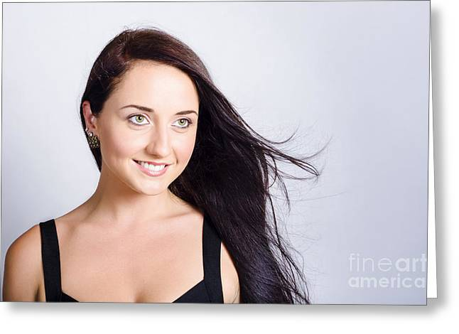 Beauty And Cosmetics Girl With Natural Makeup Greeting Card by Jorgo Photography - Wall Art Gallery