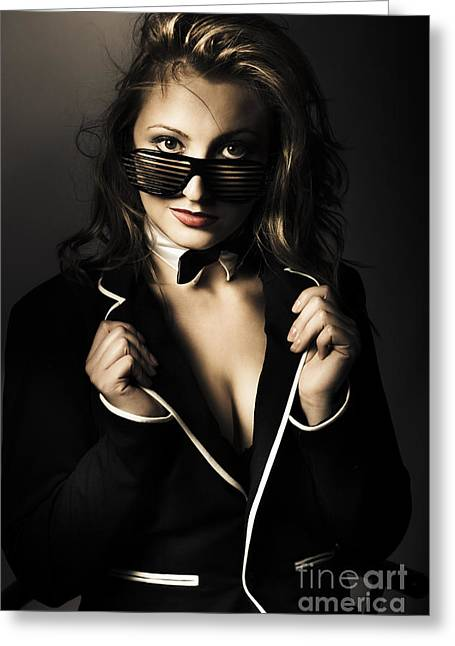 Beauty Woman Posing In Formal Evening Wear Greeting Card by Jorgo Photography - Wall Art Gallery