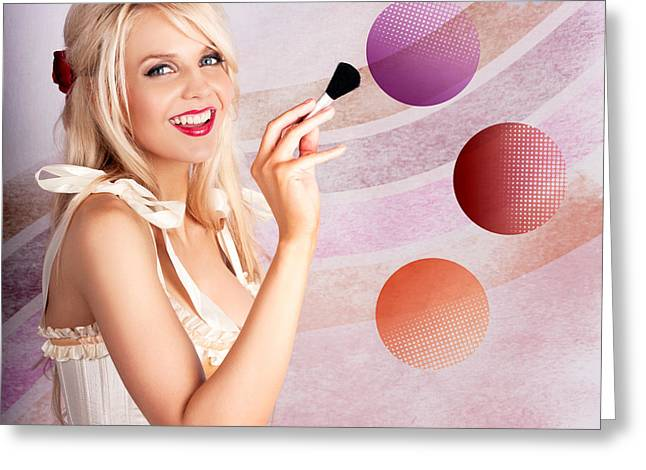 Beauty Woman Using Rouge Blush Color Pallet Greeting Card