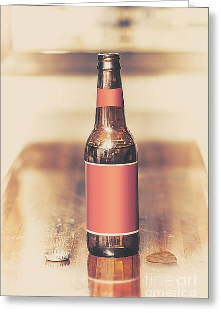 Beer Bottle And Guitar Pick On Bar. Top Pick Greeting Card by Jorgo Photography - Wall Art Gallery