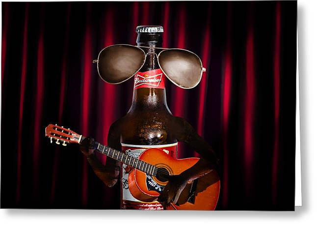 Beer Bottle Music Performer Playing Opening Act Greeting Card