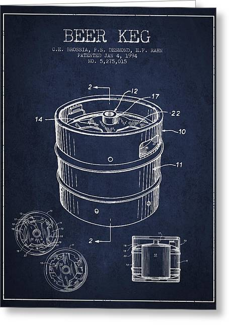 Beer Keg Patent Drawing - Green Greeting Card by Aged Pixel