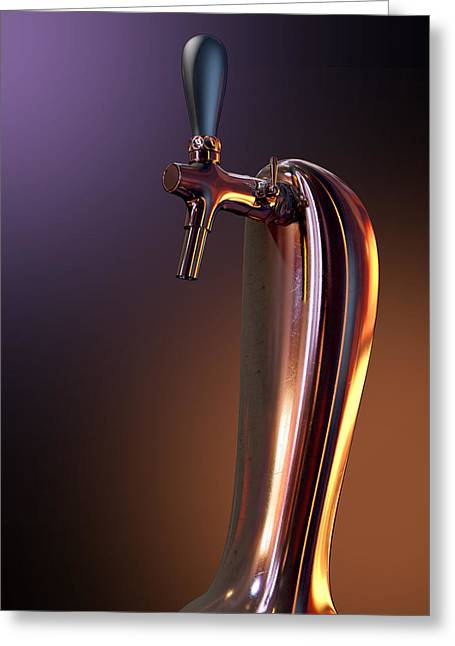 Beer Tap Single Moody Greeting Card by Allan Swart