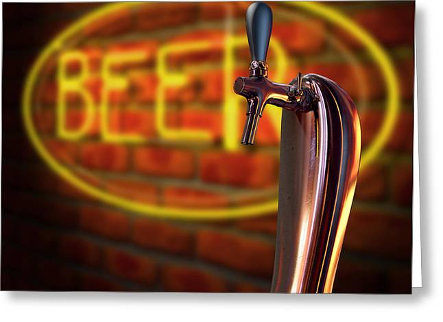 Beer Tap Single With Neon Sign Greeting Card