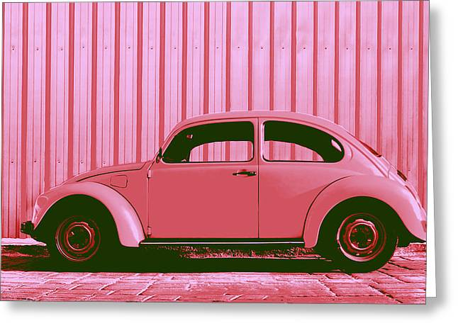 Beetle Pop Pink Greeting Card by Laura Fasulo