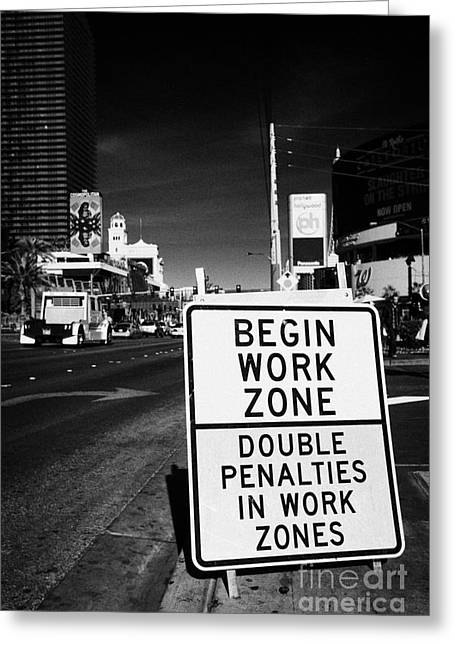 begin work zone double penalties roadsign on Las Vegas boulevard Nevada USA Greeting Card