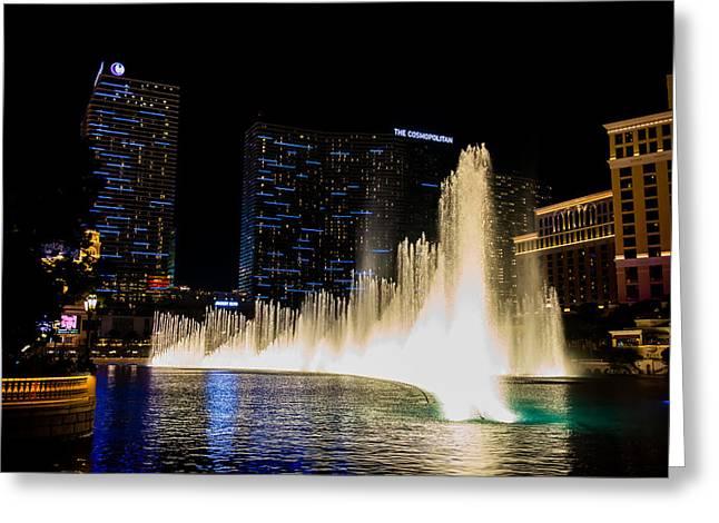 Bellagio Fountain Greeting Card by Zachary Cox
