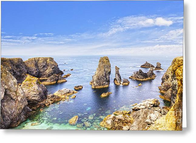 Belle-ile Brittany France Les Aiguilles De Port Coton Greeting Card by Colin and Linda McKie