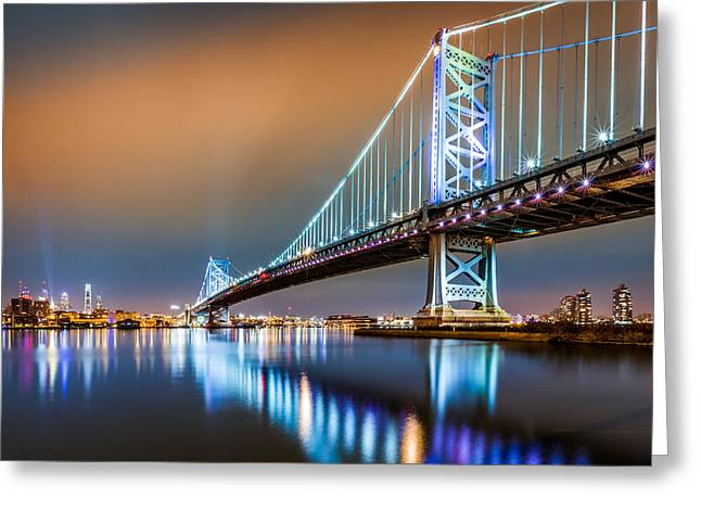 Ben Franklin Bridge And Philadelphia Skyline By Night Greeting Card