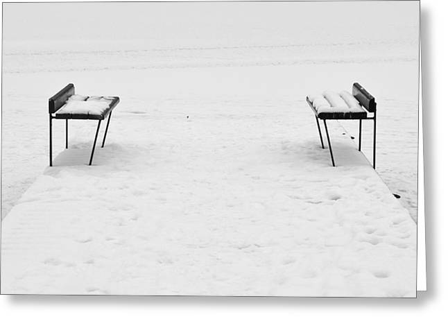 Benches On A Dock Greeting Card