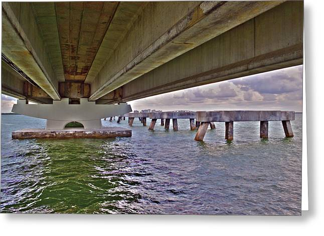 Greeting Card featuring the photograph Beneath Sanibel Bridge by Timothy Lowry