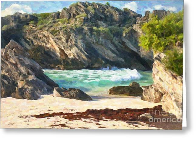 Bermuda Hidden Beach Greeting Card by Verena Matthew