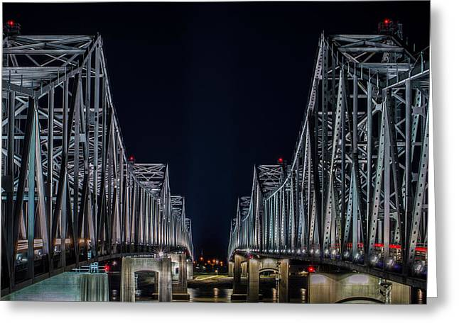 Between The Bridges Greeting Card
