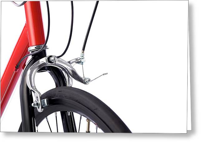 Bicycle Brakes Greeting Card by Science Photo Library