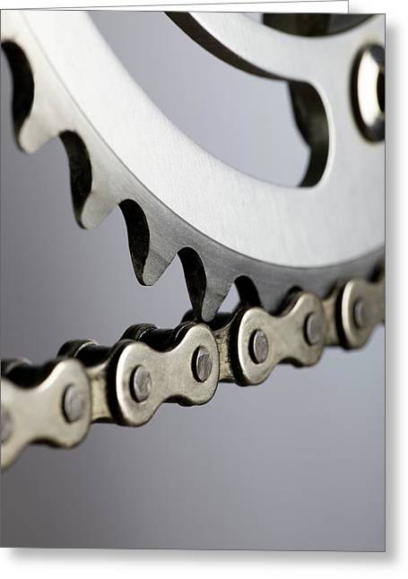 Bicycle Chain And Crank Greeting Card by Science Photo Library