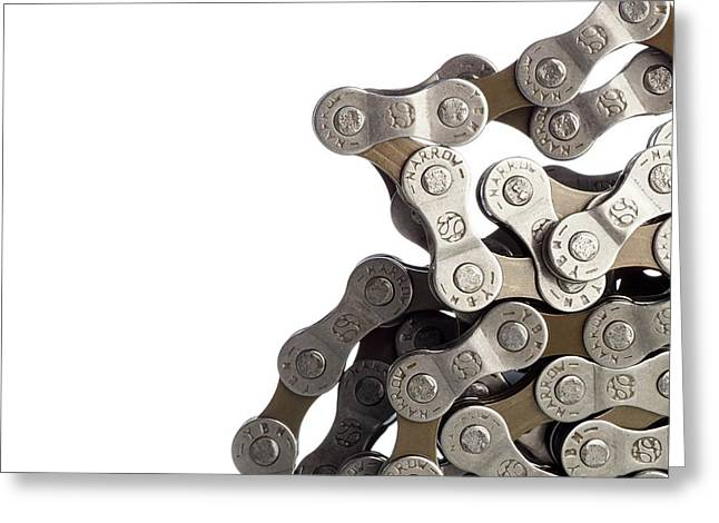 Bicycle Chain Coiled Up Greeting Card by Science Photo Library