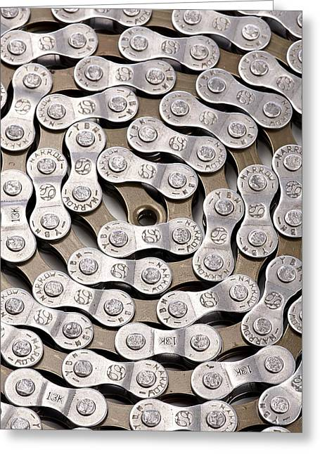 Bicycle Chain Greeting Card by Science Photo Library