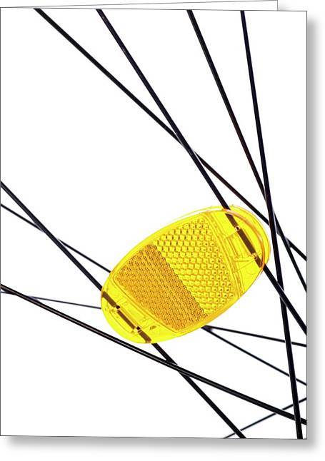 Bicycle Wheel Reflector Greeting Card by Science Photo Library