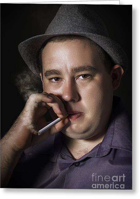 Big Mob Boss Smoking Cigarette Dark Background Greeting Card by Jorgo Photography - Wall Art Gallery