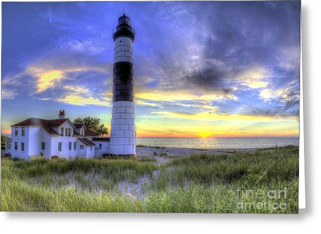 Big Sable Sunset Greeting Card by Twenty Two North Photography