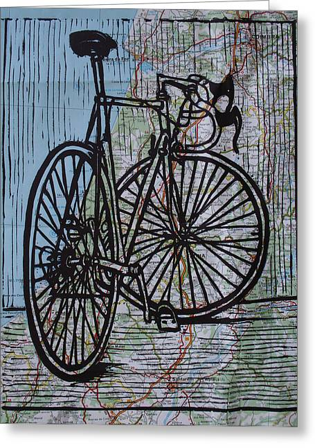 Bike 4 On Map Greeting Card