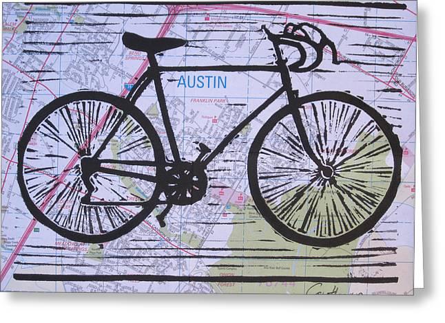 Bike 8 On Map Greeting Card