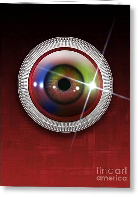 Biometric Eye Scan, Artwork Greeting Card by Victor Habbick Visions