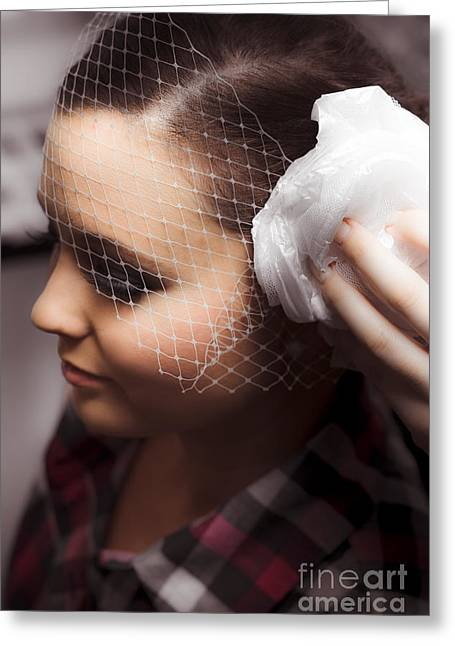 Birdcage Veil Greeting Card by Jorgo Photography - Wall Art Gallery