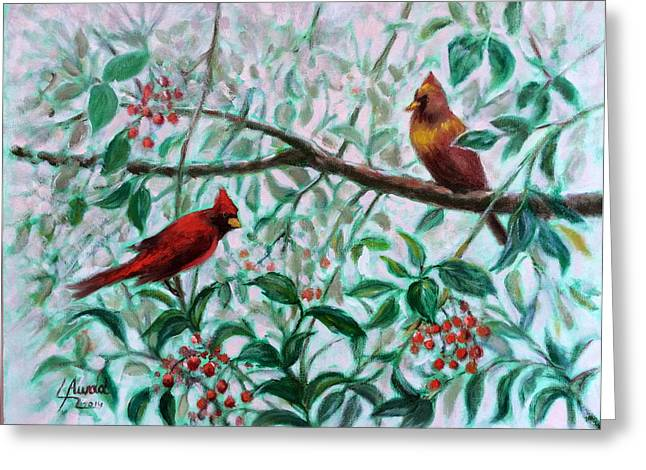Birds In Our Garden Greeting Card by Laila Awad Jamaleldin