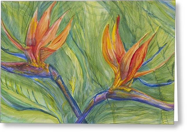 Greeting Card featuring the painting Birds Of Paradise by Cathy Long
