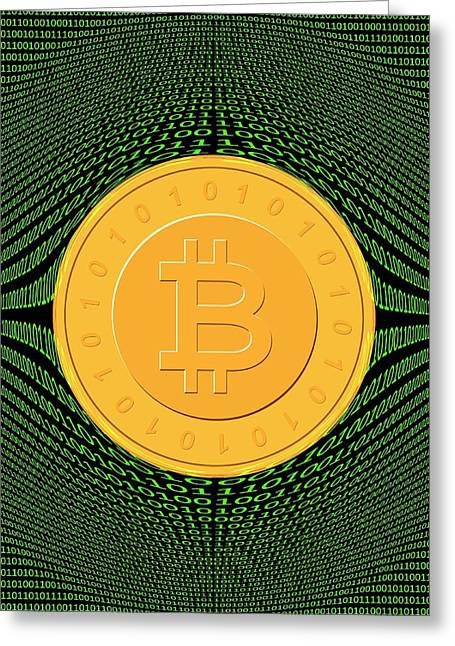 Bitcoin And Binary Code Greeting Card by Victor De Schwanberg