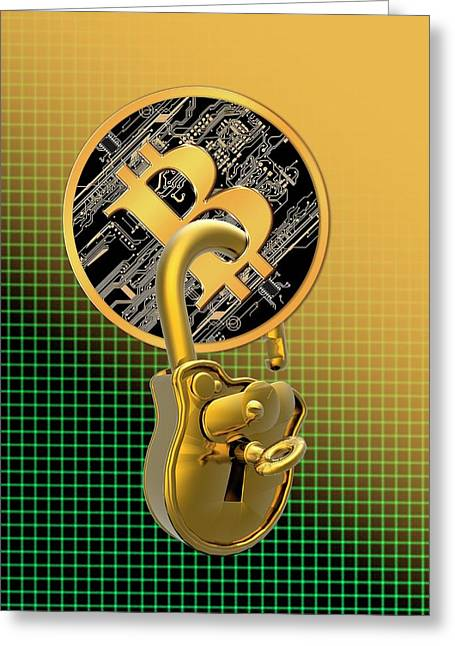 Bitcoin And Padlock Greeting Card