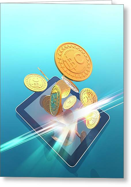 Bitcoins And Digital Tablet Greeting Card