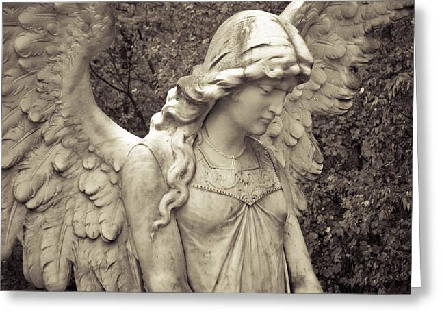 Black And White Angel Greeting Card by Patsy Zedar