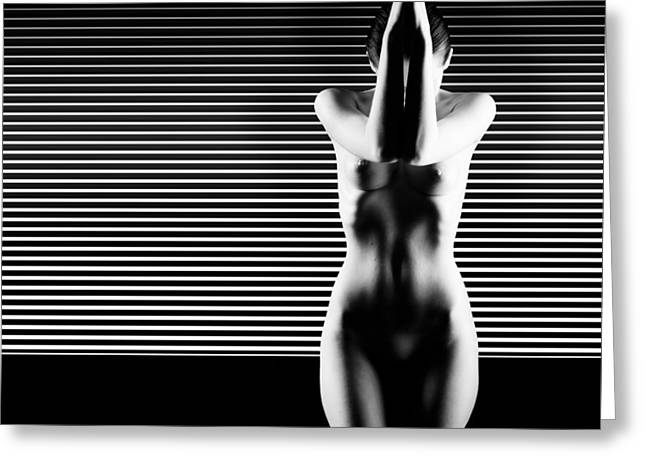 Black And White Artistic Nude Greeting Card by Dan Comaniciu