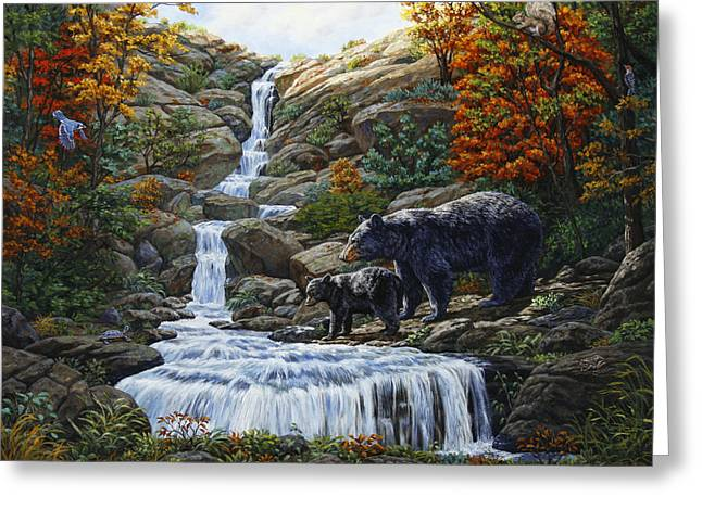 Black Bear Falls Greeting Card