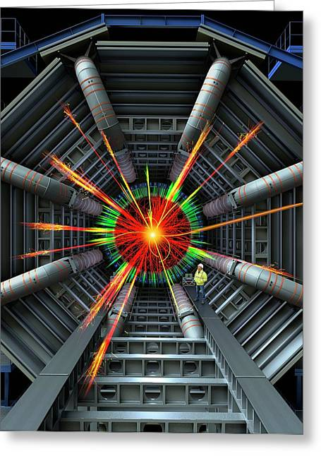 Black Hole Simulation On Lhc Greeting Card by David Parker
