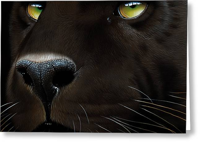 Black Leopard Greeting Card by Jurek Zamoyski