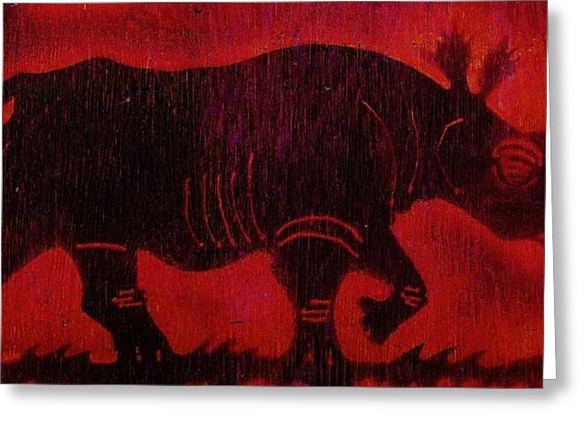 Greeting Card featuring the pyrography Black Rhino by Larry Campbell