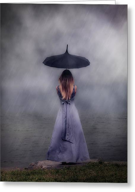 Black Umbrella Greeting Card