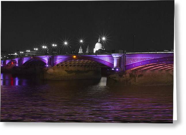 Blackfriars Bridge London Thames At Night  Greeting Card