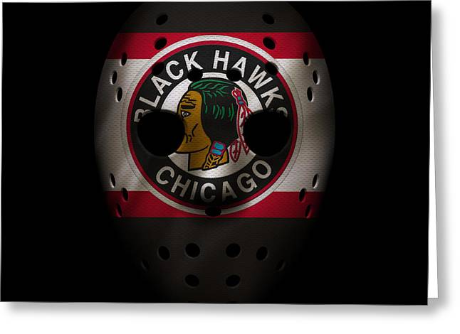 Blackhawks Jersey Mask Greeting Card by Joe Hamilton
