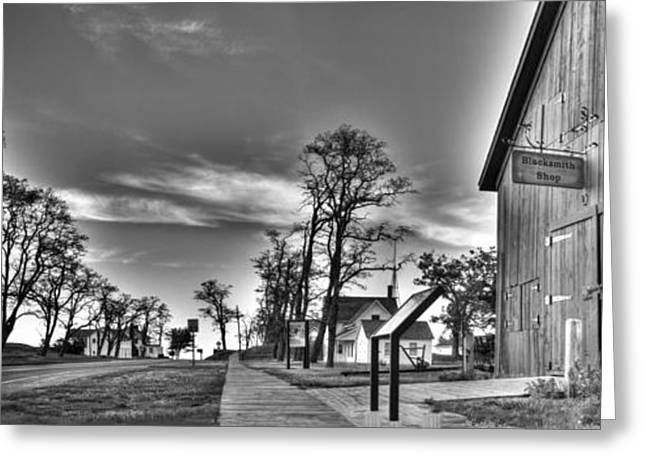 Blacksmith Shop In Black And White Greeting Card