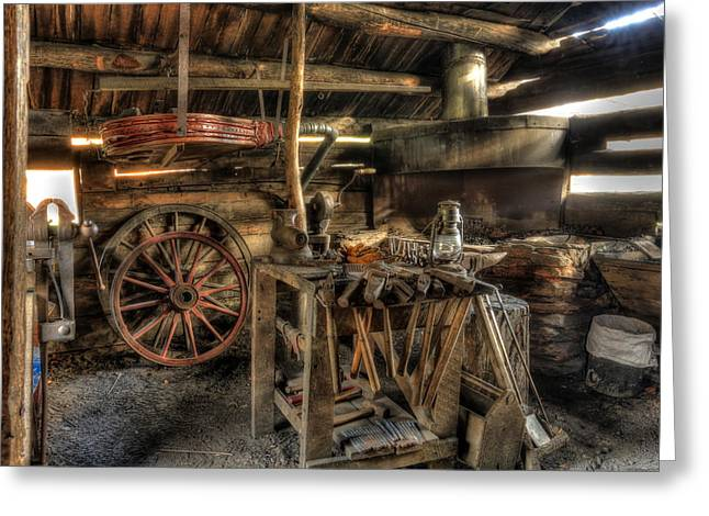 Blacksmith Shop Greeting Card by Jaki Miller