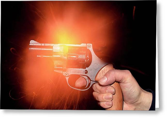 Blank-firing Revolver Greeting Card by Crown Copyright/health & Safety Laboratory Science Photo Library