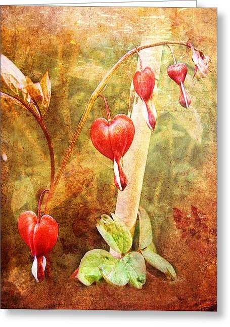 Greeting Card featuring the digital art Bleeding Heart by Helene U Taylor