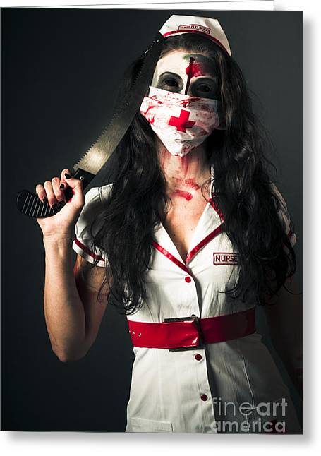 Bleeding Psychotic Medic Woman With Amputation Saw Greeting Card by Jorgo Photography - Wall Art Gallery