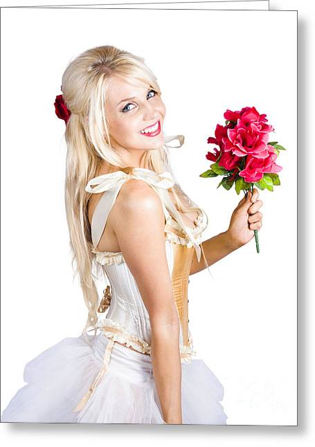Blond Dancing Woman With Red Flowers Greeting Card by Jorgo Photography - Wall Art Gallery